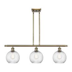 INNOVATIONS LIGHTING 516-3I-AB-G1214-8-LED Twisted Swirl 3 Light Island Light