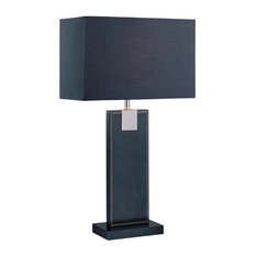 Table Lamp, Black Leather Black Fabric Shade, E27 Cfl 13W