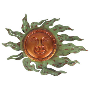 Copper and Gold Tone 16 Inch Diameter Metal Sun Wall Plaque
