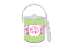 Personalized Greek Key Bank Pink Ice Bucket