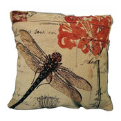 """Contemporary Fly High Dragonfly Decorative Cushion Cover Set, 18""""x18"""", 2 Piece"""
