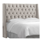 King Nail Button Tufted Wingback Headboard, Mystere Dove
