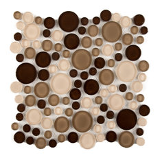 """11""""x11"""" Glass Mosaic Tile, Bubble Collection, Frappuccino, Mixed Rounds,, Set of"""