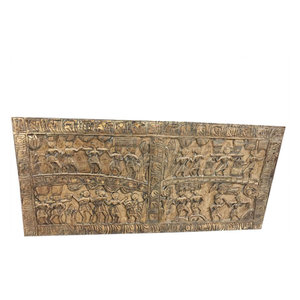 Mogulinterior - Consigned Antique Hand-Carved Wall Panel - Wall Decor