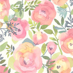 NuWallpaper - Peachy Keen Pink Peel & Stick Wallpaper - Peach and pink flowers with curling green leaves pop against a white background in this stunning peel and stick wallpaper. Its gorgeous watercolor design adds to its whimsical and vintage style. Peachy Keen Pink Peel and Stick Wallpaper comes on one roll that measures 20.5 inches wide by 18 feet long. Vintage inspired floral pattern; Peel and stick to apply, pull up to remove; NuWallpaper is safe for walls and leaves no sticky residue behind; Easily repositionable while installing; NuWallpaper sticks to any smooth, flat surface - perfect for DIY projects; Ideal for rental or home decorating;Comes on a 20.5-in x 18-ft roll and covers about 30.75 sq. ft;Design repeat of 21-in;This product should NOT be applied to textured walls - smooth clean, dry, painted surface only (no Non-Stick paint or soap residue).