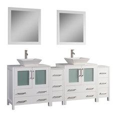"Vanity Set With Ceramic Top, White, 84"", Standard Mirror"