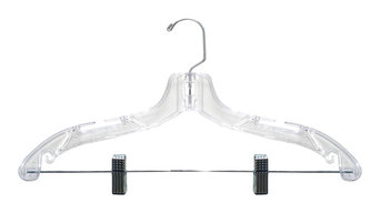 100 Clear Plastic Suit Hanger, Heavy Weight With Metal Clips, 17""
