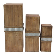 Rustic Square Wood and Iron Pedestals, 3-Piece Set