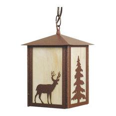 Elk and Tree Outdoor Pendant Light, Black