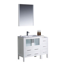 "42"" Modern Single Sink Vanity, White, Integrated White Ceramic Sink, FFT1030BN"
