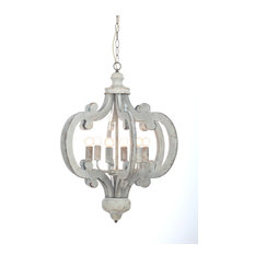 1st Avenue - Venice Distressed Wood Chandelier, White - Chandeliers