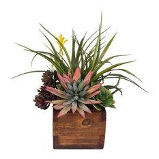 Artificial Agave Pelona Plant With Succulent Arrangement, Rustic Wood Planter
