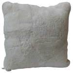 """Diseño - Sheepskin Shearling Pillows, White, 16"""" - Soft, lush shearling pillows in a variety of natural and dyed colors. Comes in two sizes, 14 & 20"""" squares, and imported from Argentina."""