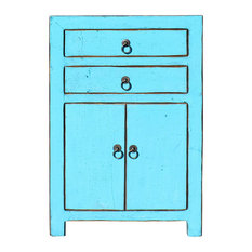 Distressed Pastel Blue Lacquer Two Drawers End Table Nightstand Hcs5394