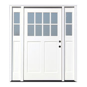 """70""""x80"""" White Cottage Ext. Front Door, Left Hand With 11"""" Sidelites"""