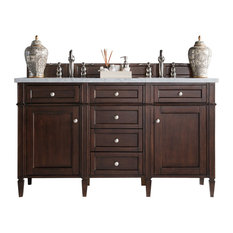 James Martin Furniture Brittany 60 Burnished Mahogany Double Cabinet Top Not Included