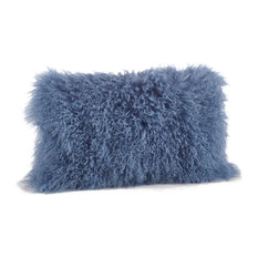 Mongolian Lamb Fur Design Down Filled Throw Pillow, Blue-Gray