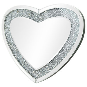 Modern Wall Mounted Mirror With Crushed Diamonds Frame, Heart Shaped Design