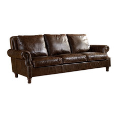 Leather English Rolled Arm Sofa, Dark Brown
