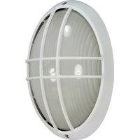 "Nuvo 60/528 1-Light Oval Cage Bulk Head Light, Semi Gloss White, 13"""