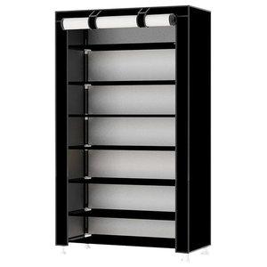 Modern Stylish Storage Organizer Upholstered, Waterproof Fabric, 8-Tier, Black