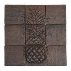 Pineapple Mosaic Design Hammered Copper Tile