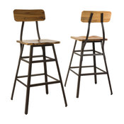 GDF Studio Lilinden Natural Stained Laminated Acacia Bar Chairs, Set of 2