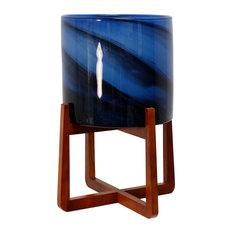 Vivian Glass Planter on Wood Stand, Dark Cobalt Blue With black swirls