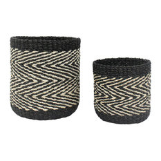 """6.5"""" & 8"""" Abaca Barrel Zigzag Container, Natural and Black, Set of 2"""