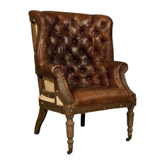 Top Grain Vintage Leather Deconstructed English Wing Chair