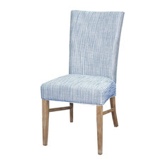 New Pacific Direct Inc.   Milton Fabric Chair Natural Wood Legs, Blue  Stripes,