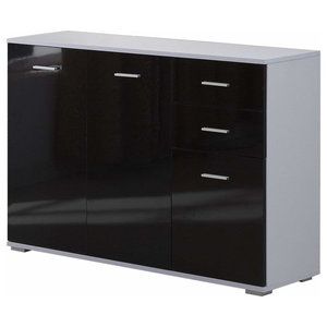 Modern High Gloss Chest of 3-Drawer With Door and Inner Shelf for Extra Storage
