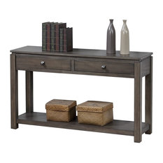 Sofa Console Table with-Drawers and Shelf in Gray
