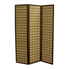 "70.25"" 2 Toned Bamboo 3-Panel Room Divider, Walnut"