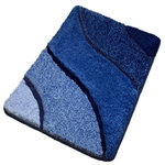 Luxury Bathroom Rugs, Blue Bath Rugs, Small - This plush small bath rug is perfect for a small space or small bathroom. This blue bath mat has a modern design with a range of blue tones and a non-slip / non-skid backing. The multi-level pile is just gorgeous. Machine wash warm, dry in dryer. Made in Germany. Perfect for your bathroom!