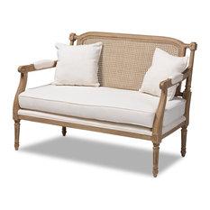 Ferrella French Ivory Upholstered Whitewashed Wood Armchair, Ivory/Oak