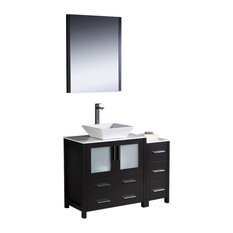 "Torino 42"" Espresso Vanity, Side Cabinet and Vessel Sink Fortore Chrome Faucet"