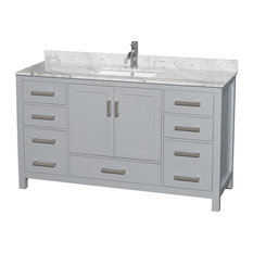 "Sheffield 60"" Single Vanity, Gray, Carrera Marble Top, Undermount Square Sink"