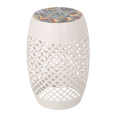 Vivaan Outdoor Lace Cut Side Table With Tile Top, White, Multi-Color
