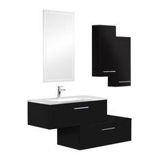Swing Black Crystal Bathroom Vanity Unit, 90 cm