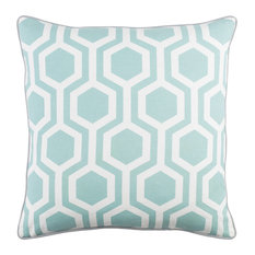 Modern Cotton Aqua and Light Gray and White Accent Pillow, 18  x18