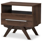 Wholesale Interiors - Ashfield Mid-Century Walnut Brown Finished Wood Nightstand - Sleek design with angular legs for sculptural design balancing, the Ashfield nightstand presents your everyday space with ample storage. Constructed of engineered wood and MDF boards for sturdiness, the nightstand features one upper open shelf and a lower drawer for your book collection or ornaments alike. Powder-coated handle offers a sleek and modern aesthetic in your space. Solid rubberwood legs provide strong structural supports. Walnut or espresso brown veneered finishing complements a range of interior palettes and styles, from retro and Scandinavian to coastal and urban styles. Made in Malaysia, the Ashfield requires assembly.