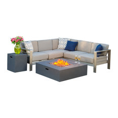 GDFStudio - Crested Bay Outdoor Aluminum Framed Sofa Set With Fire Table, Dark Gray - Outdoor Lounge Sets