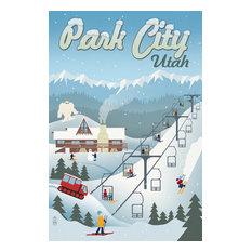 """Park City, Utah, Retro Ski Resort"" Print, 16""x24"""