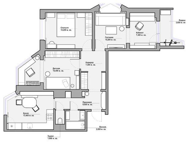 План этажа by Vera Tarlovskaya Interiors