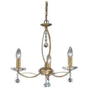 Monaco and Crystal Glass 3-Light Pendant, Bronze