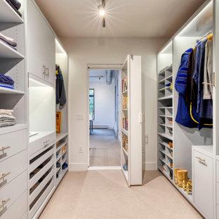 Ispirazione per una cabina armadio unisex moderna di medie dimensioni con ante lisce, ante grigie, moquette e pavimento beige