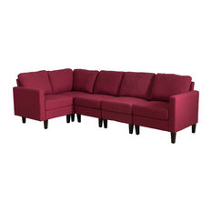 GDFStudio   Bridger Deep Red Fabric Sectional Couch   Sectional Sofas