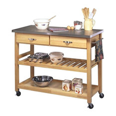 Home Styles Furniture   Designer Utility Cart With Stainless Steel Top,  Natural   Kitchen Islands