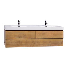 "Angela 71"" Contemporary Double Wall Mounted Vanity, Natural Oak"